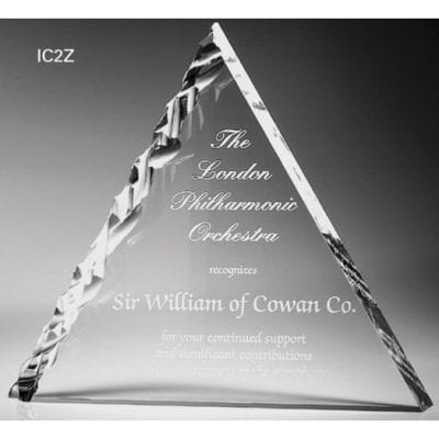 IC2Z10 Acrylic Chiseled Triangle Award