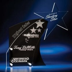 LPST12 Lucite Black Tie Flare Award