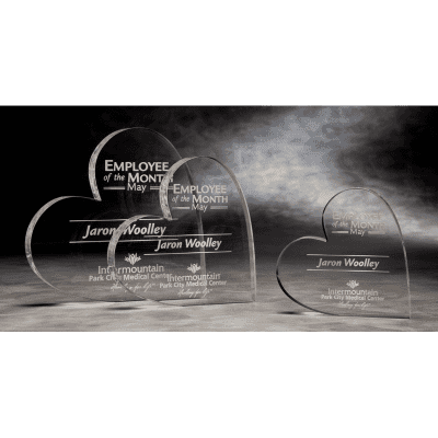 MPH05 Acrylic Mini Paperweight Heart Award
