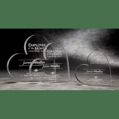 MPH03 Acrylic Mini Paperweight Heart Award